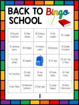Back to School Fitness Bingo