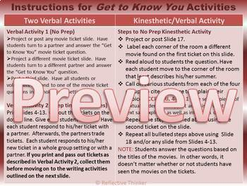Back to School:  Five Get to Know You Editable Activities with Movie Tickets