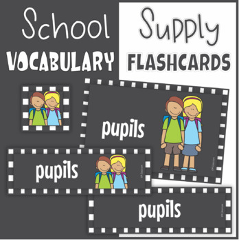 School Supplies ESL Flash Cards, Wordcards, Posters