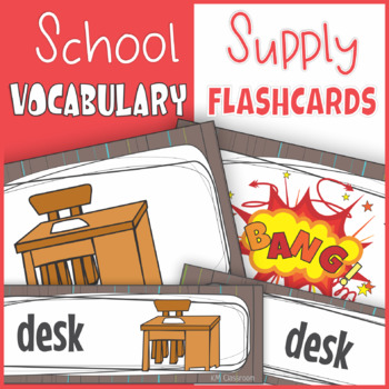 School Supplies  Word Wall Cards, Flash Cards, Wordcards, Posters