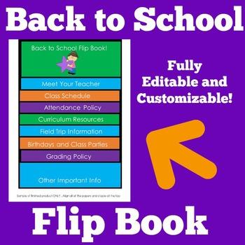 Back to School Flip Book | Editable Flip Book | Customizable Flip Book