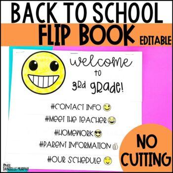 Back to School Flip Book Emoji Hashtag EDITABLE