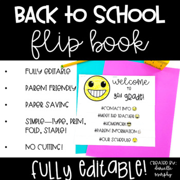 Back to School Flip Book Emoji Hashtag EDITABLE