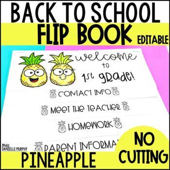 Back to School Flip Book Tropical Pineapple EDITABLE