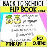 Back to School Flip Book Tropical Pineapple EDITABLE