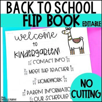 Back to School Llama Flip Book EDITABLE