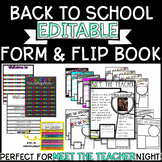 Back to School Flip Book and Meet the Teacher Forms *EDITABLE*