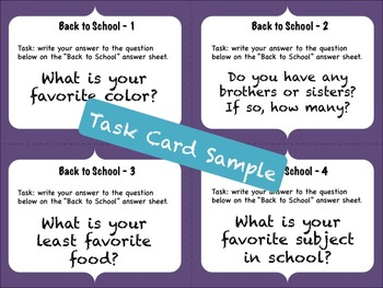 Back to School Task Card OR PowerPoint Getting to Know You Activity!