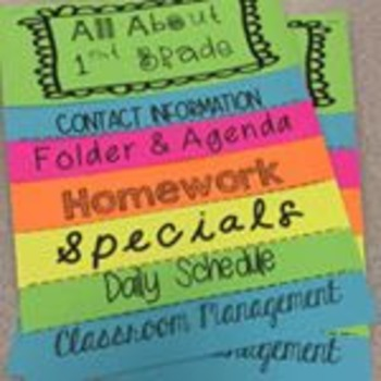 Back to School Flipbook - All About 1st Grade for Parents (Completely Editable!)