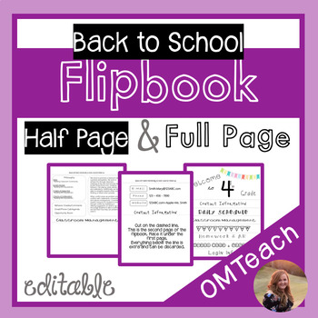 Back to School Flipbook - Editable