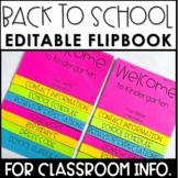Back to School Flipbook | Meet the Teacher Night Flip Book | Open House Editable