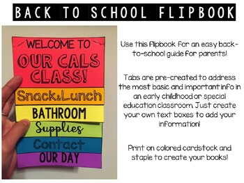 Back to School Flipbook for Special Ed or Early Childhood