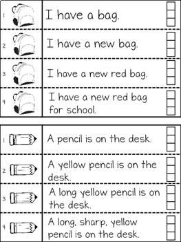 Back to School Fluency Strips