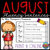 August Back to School Fluency Sentences