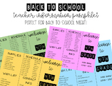 Back to School | Teacher Information Pamphlet | Meet the Teacher | *EDITABLE*
