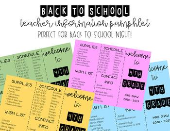 Back to School Night | Teacher Information Brochure| Meet the Teacher | EDITABLE