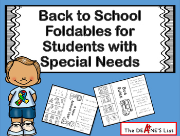 Back to School Foldables for Students with Special Needs
