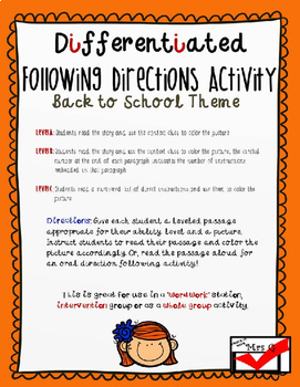 Back to School Follow Directions