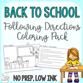 Back to School Following Directions Coloring Pack- No Prep