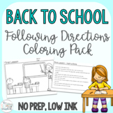 Back to School Following Directions Coloring Pack- Mixed directions