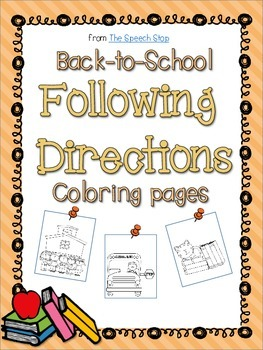 Back to School Following Directions Coloring Packet