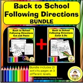 Back to School Following Directions In Speech Therapy Bundle
