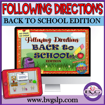 BOOM CARDS Back to School Following Directions Plus Prepositions - Teletherapy