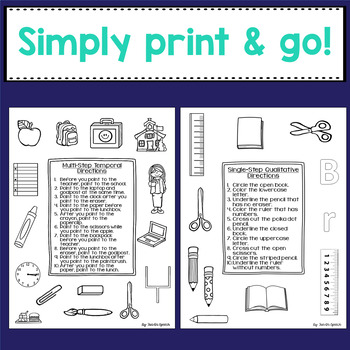 Back to School - Following Directions Worksheets by Fun in Speech