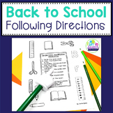 Back to School - Following Directions Worksheets for Speech Therapy