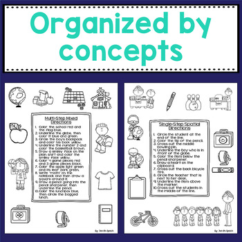 back to school following directions worksheets for speech therapy. Black Bedroom Furniture Sets. Home Design Ideas