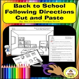 Back to School Following Directions in Speech Therapy  Cut