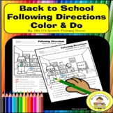 Back to School Following Directions in Speech Therapy  Rea