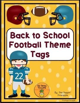 Back to School Welcome Football Tags for Students EDITABLE