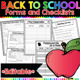 Back to School Forms: 45 EDITABLE Print-and-Go Forms