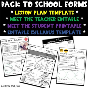 Back to School Forms {BUNDLE}