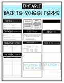 Back to School Forms EDITABLE