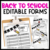 Back to School Forms {Editable}