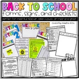Back to School and Meet the Teacher Forms, Checklists, and