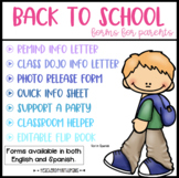 Back to School Forms- Editable