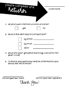 Back to School Forms: Editable Meet the Teacher & Parent/Student Forms