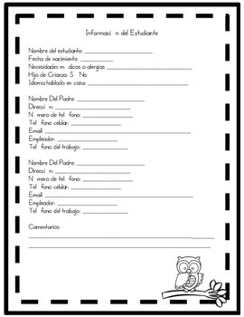 Back to School Forms English/Spanish