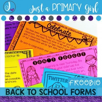 Back to School Forms {FREEBIE}