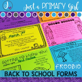 Back to School Forms {FREEBIE}