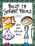 Back to School Forms FREEBIE
