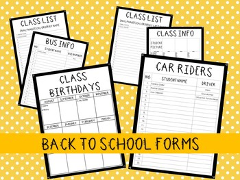 Back to School Forms! Get Organized in Style!