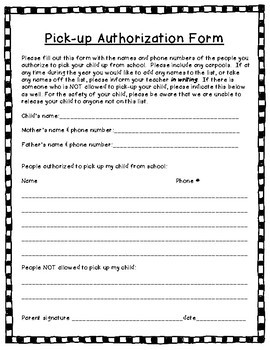 Back to School Forms & Handouts for Preschool, PreK, & K