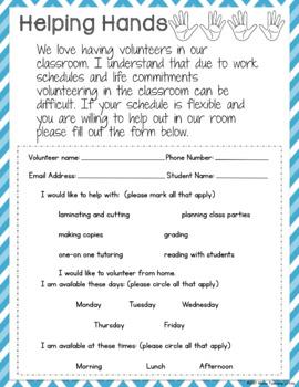 Back to School Forms/ Meet the Teacher