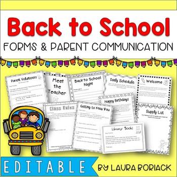 Back to School Forms & Parent Communication {EDITABLE}