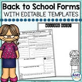 Back to School Forms & Editable Meet the Teacher Letter Template