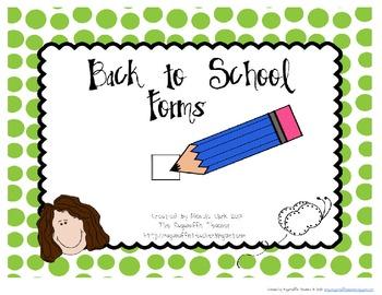 Back to School Forms: Volunteer, Student, Communication, Birthday Calendar